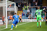 Peterborough United forward Matt Godden (9) celebrates his goal during the EFL Sky Bet League 1 match between Peterborough United and Portsmouth at London Road, Peterborough, England on 15 September 2018.