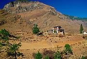 Chalet-style houses and farmland, Bhutan