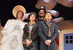 "© Licensed to London News Pictures. 10/12/2012. London, England. L-R: Michael Bertenshaw as Mrs Trott, Gemma Salter as Lucy, Oliver Taheri as Biz and Windson Liong as Mr Fleece. ""Jack & The Beanstalk"" is the Christmas pantomime showing at the Theatre Royal Stratford East, London, running from 1 December 2012 to 19 January 2013. Book & lyrics by Paul Sirett, directed by Dawn Reid, with Jorell-Coiffic-Kamall as Jack. Photo credit: Bettina Strenske/LNP"