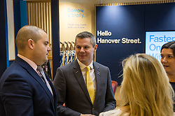 Pictured: Amanda Bell, Head of branch distribution; Richie Bowman, Branch Manager, Derek Mackay and Gillian Petty, TSB area director<br /> <br /> Today, Finanace Secretary Derek Mackay opened the newly refurbished TSB branch on Hanover Street in Edinburgh.  Mr Mackay met with staff and customers and toured the facilities. <br /> <br /> Ger Harley   EEm 18 Novcember 2016