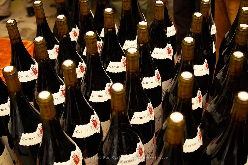 Bottle necks of Cornas. Alain Voge, Cornas, Ardeche, Ardèche, France, Europe