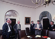 Carter advisors before a Meeting on the Salt agreement in the cabinet room in March 1978<br /> Photo by Dennis Brack