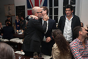 Michael Stipe; Alex Logsdail; Richard Chang, DINNER TO CELEBRATE THE ARTISTS OF FRIEZE PROJECTS AND THE EMDASH AWARD 2012 hosted by ANDREA DIBELIUS founder EMDASH FOUNDATION, AMANDA SHARP and MATTHEW SLOTOVER founders FRIEZE. THE FORMER CENTRAL ST MARTIN'S SCHOOL OF ART AND DESIGN, SOUTHAMPTON ROW, LONDON WC1. 11 October 2012