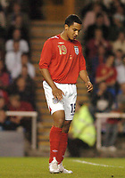 Photo: Leigh Quinnell.<br />England 'B' v Belarus. International Friendly. 25/05/2006.<br />England's Theo Walcott holds leg after a knock.