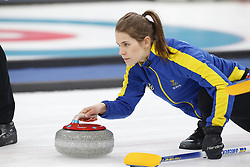 February 25, 2018 - Pyeongchang, KOREA - Sweden players including Anna Hasselborg, Sara McManus , Agnes Knochenhauer and Sofia Mabergs  played against Korea for the women's curling gold medal game during the Pyeongchang 2018 Olympic Winter Games at Gangneung Curling Centre. (Credit Image: © David McIntyre via ZUMA Wire)