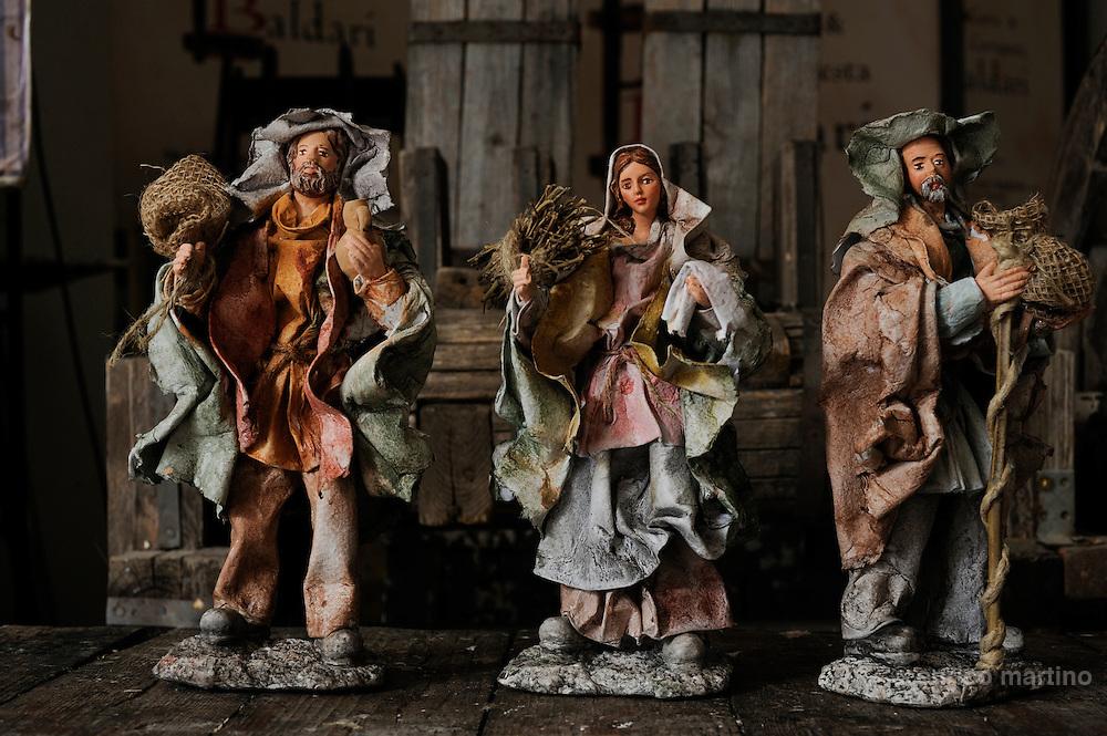 Martano, near Lecce. The workshop of the papier-mâché craftman Luigi Baldari. Papier-mâché characters for crib.