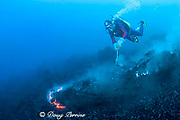 diver Bud Turpin and flowing pillow lava at underwater eruption of Kilauea Volcano Hawaii Island ( the Big Island ) Hawaii U.S.A. ( Central Pacific Ocean ) MR 381