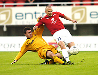 Fotball, UEFA-Cup, 02 August 2007, Brann - Carmarthen Town, Kristjan Sigurdsson, Brann, Daniel Thomas, Carmarthen.<br /> <br /> Foto: Kjetil Espetvedt, Digitalsport.