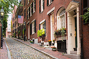 Tourists view the famous cobbled street Beacon Hill in the historic district of Boston, Massachusetts at night, USA