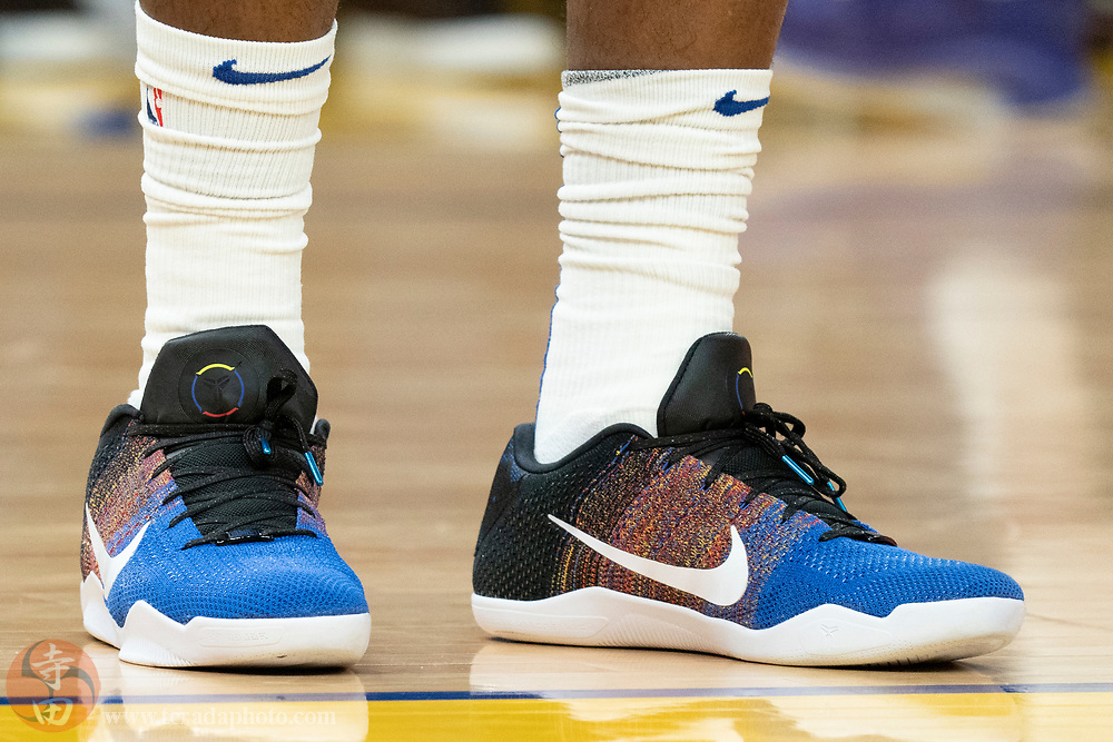 February 23, 2020; San Francisco, California, USA; Detail view of the Nike shoes worn by Golden State Warriors forward Eric Paschall (7) during the fourth quarter against the New Orleans Pelicans at Chase Center.