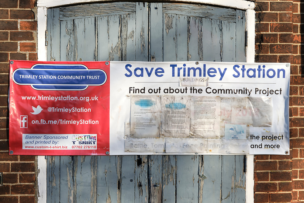 Trimley Station Community Trust banner informing users of the station about their plans to restore the old derelict station building for community use.<br /> <br /> Photo by Jonathan J Fussell, COPYRIGHT 2020