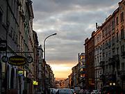 Evening light at Konevova street in Žižkov.