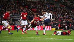 Tottenham Hotspur's Fernando Llorente attempts a shot