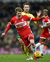 Norwich's Tom Trybull <br />  Fouls Middlesbrough's Patrick Bamford<br />  <br /> Photographer Jon Hobley/CameraSport<br /> <br /> The EFL Sky Bet Championship - Norwich City v Middlesbrough - Saturday 3rd February 2018 - Carrow Road - Norwich<br /> <br /> World Copyright © 2018 CameraSport. All rights reserved. 43 Linden Ave. Countesthorpe. Leicester. England. LE8 5PG - Tel: +44 (0) 116 277 4147 - admin@camerasport.com - www.camerasport.comMiddlesbrough's Patrick Bamford, Tom Trybull <br /> <br /> Photographer Jon Hobley/CameraSport<br /> <br /> The EFL Sky Bet Championship - Norwich City v Middlesbrough - Saturday 3rd February 2018 - Carrow Road - Norwich<br /> <br /> World Copyright © 2018 CameraSport. All rights reserved. 43 Linden Ave. Countesthorpe. Leicester. England. LE8 5PG - Tel: +44 (0) 116 277 4147 - admin@camerasport.com - www.camerasport.com