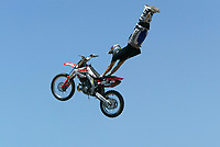 """Jul 01, 2003; Anaheim, California, USA; Moto X star athlete JIMMIE MCGUIRE catches vertical air at Disney's California Adventure """"X Games Experience"""".  <br />Mandatory Credit: Photo by Shelly Castellano/Icon SMI<br />(©) Copyright 2003 by Shelly Castellano"""