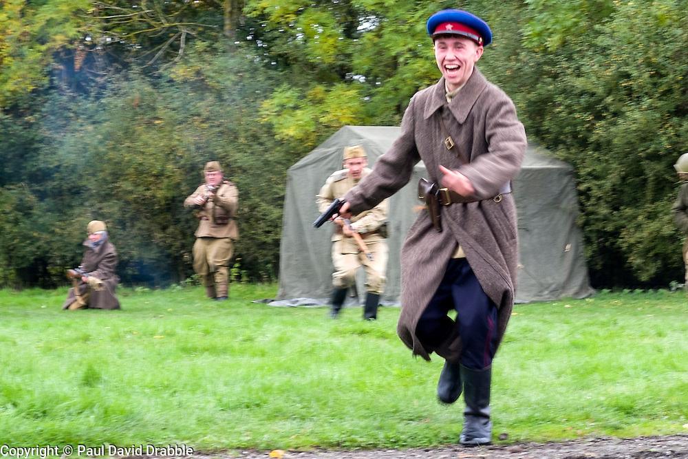 Soviet troops charge German Positions during a Battle re-enactment on Pickering Showground<br /> <br /> 17/18 October 2015<br />  Image © Paul David Drabble <br />  www.pauldaviddrabble.co.uk