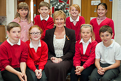 Julie Allen head teacher Birkwood Primary School, Cudworth who has won Head Teacher of the Year for the North East of England 2013 with Y5 & Y6 drama group <br /> <br /> 22 May 2013<br /> Image © Paul David Drabble<br /> www.pauldaviddrabble.co.uk