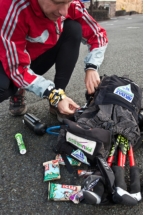 Nick Gracie AdidasTERREX team member packing on the Wenger Patagonia Expedition Race media day..Copyrighted work - Permission must be sought before use of this image..Alex Ekins +44 (0)7901 882994.