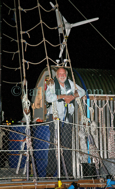 05 April 2011. St Maarten, Antilles, Caribbean.<br /> After more than 9 weeks at sea, having started in the Canary islands, the 'Antiki' transatlantic raft gets set to arrive in St Maarten in the Caribbean following an epic voyage. <br /> Anthony Smith (84 yrs old) British adventurer, (pictured) sailed with David Hildred, sailing master and British Virgin Islands resident, Dr Andrew Bainbridge of Alberta, Canada and John Russell, solicitor and UK resident.<br /> Photo; Photo; Charlie Varley/varleypix.com