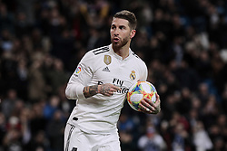 January 24, 2019 - Madrid, Spain - Real Madrid's Sergio Ramos celebrates goalduring Copa del Rey match between Real Madrid and Girona FC at Santiago Bernabeu Stadium. (Credit Image: © Legan P. Mace/SOPA Images via ZUMA Wire)