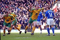 PICTURE BY DANIEL HAMBURY/SPORTSBEAT IMAGES<br />Nationwide Football League Division One    7/3/04<br /><br /><br />NORWICH V IPSWICH<br /><br />Norwich City's Malky Mackay celebrates his first goal