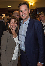 © Licensed to London News Pictures. 16/07/2015. London, UK. Nick Clegg speaking with Lynne Featherstone at Islington Assembly Hall before Tim Farron's first rally as Leader of the Liberal Democrats after beating Norman Lamb in the contest to succeed Nick Clegg. Photo credit : James Gourley/LNP