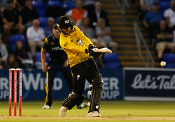 Gloucestershire's Jack Taylor pulls for four<br /> <br /> Photographer Simon King/Replay Images<br /> <br /> Vitality Blast T20 - Round 8 - Glamorgan v Gloucestershire - Friday 3rd August 2018 - Sophia Gardens - Cardiff<br /> <br /> World Copyright © Replay Images . All rights reserved. info@replayimages.co.uk - http://replayimages.co.uk