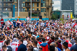 © Licensed to London News Pictures. 11/07/2021. LONDON, UK.  England fans outside Wembley Stadium ahead of the final of Euro 2020 between Italy and England.  It is the first major final that England will have played in since winning the World Cup in 1966 and Italy remain unbeaten in their last 33 matches.  Photo credit: Stephen Chung/LNP