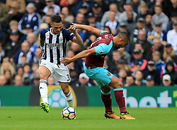 Kieran Gibbs of West Bromwich Albion battles with Winston Reid of West Ham United - Mandatory by-line: Paul Roberts/JMP - 16/09/2017 - FOOTBALL - The Hawthorns - West Bromwich, England - West Bromwich Albion v West Ham United - Premier League