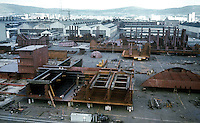 Harland & Wolff shipyard, Belfast, N Ireland, UK, general view of all the steel fabrications that go towards making a completed vessel. 197609290427a.<br /> <br /> Copyright Image from Victor Patterson, 54 Dorchester Park, Belfast, UK, BT9 6RJ<br /> <br /> t: +44 28 90661296<br /> m: +44 7802 353836<br /> vm: +44 20 88167153<br /> e1: victorpatterson@me.com<br /> e2: victorpatterson@gmail.com<br /> <br /> For my Terms and Conditions of Use go to www.victorpatterson.com