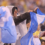 Fans in the snow storm during the Argentina Vs Ecuador International friendly football match at MetLife Stadium, New Jersey. USA. 31st march 2015. Photo Tim Clayton