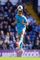 Nacer Chadli (BEL) of Tottenham Hotspur heads the ball - Photo mandatory by-line: Rogan Thomson/JMP - 07966 386802 - 12/04/2014 - SPORT - FOOTBALL - The Hawthorns Stadium - West Bromwich Albion v Tottenham Hotspur - Barclays Premier League.