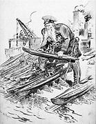 German Grand Admiral Alfred von Tirpitz (1849-1930) with his answer to British naval strength. He promoted unrestricted submarine warfare. William Allen Rogers (1854-1931) American artist. World War I 1914-1918. Naval