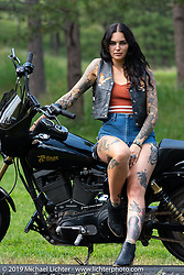 Tattoo artist Mara Ohara during the Sturgis Black Hills Motorcycle Rally. SD, USA. Friday, August 9, 2019. Photography ©2019 Michael Lichter.