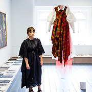 """18.05.2018.          <br /> More than 500 people attended the flagship event of the inaugural Unwrap LSAD Fashion Festival in Limerick.<br /> <br /> Graduate Caoimhe Dowmling, Listowel Co. Kerry is pictured with her Design, Sub Rosa.<br /> <br /> The Limerick School of Art & Design, LIT, Fashion Design Graduate Exhibition and launch of the """"The Fashion Film"""" at Limerick City Gallery of Art, in partnership with EVA International, attracted hundreds of people from the world of fashion. <br /> <br /> A total of 27 fashion graduates presented their designs alongside the specially commissioned film by fashion stylist and creative director Kieran Kilgallon and videographer Albert Hooi. Picture: Alan Place"""
