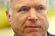 8/16/06 Council Bluffs. IA Sen. John McCain speaks with the media before attending  a breakfast for Iowa House of Representatives candidates Doug Struyk and Scott Belt at Iowa Community College. (Chris Machian/Prairie Pixel Group)