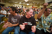 """May 22, 2008 - Phoenix, AZ: People applaud Ron Paul during a speech in Phoenix Thursday. About 850 people crowded into the ballroom at the Pointe Hilton Squaw Peak Resort in Phoenix, AZ, to hear Republican presidential hopeful Ron Paul speak. Although Arizona Sen. John McCain is the """"presumptive"""" Republican candidate for president, Texas Congressman Ron Paul is staying in the race and actively campaigning for the Presidency. Photo by Jack Kurtz"""