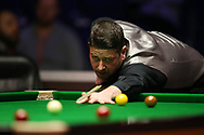 Matthew Stevens of Wales during his 2nd round match against Scott Donaldson of Scotland. ManBetx Welsh Open Snooker 2018, day three at the Motorpoint Arena in Cardiff, South Wales on Wednesday 28th February 2018.<br /> pic by Andrew Orchard, Andrew Orchard sports photography.
