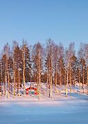 Traditional Swedish Cabin, Norrbotten, Sweden, Lapland.