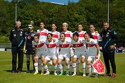 HAVERFORDWEST, WALES - Saturday, June 14, 2014: Turkey players line up for a team group photograph before the FIFA Women's World Cup Canada 2015 Qualifying Group 6 match against Wales at the Bridge Meadow Stadium. Back row L-R: goalkeeper Ezgi Caglar, Yagmur Uraz, Sibel Duman, Esra Erol, Arzu Karabulut, Fatima Kara. Front row L-R: Hanife Demiryol, Sevinc Corlu, Didem Karagnec, Cigdem Belci, Bilgin Defterli. (Pic by David Rawcliffe/Propaganda)