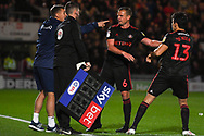 Lee Cattermole of Sunderland (6) is substituted for Luke O'Nien of Sunderland (13) during the EFL Sky Bet League 1 match between Doncaster Rovers and Sunderland at the Keepmoat Stadium, Doncaster, England on 23 October 2018.