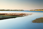 Evening light catches the distant sand dunes, whilst high tide waters zigzag through a narrow channel. Holkham Beach, North Norfolk, England, UK.