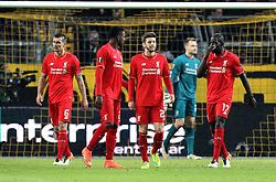 Liverpool players look dejected after conceding an equaliser - Mandatory by-line: Robbie Stephenson/JMP - 07/04/2016 - FOOTBALL - Signal Iduna Park - Dortmund,  - Borussia Dortmund v Liverpool - UEFA Europa League Quarter Finals First Leg