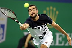 Oct. 12, 2017 - Shanghai, China - MARIN CILIC of Croatia returns the ball during the singles third round match against Steve Johnson of the USA at the 2017 ATP Shanghai Masters tennis tournament in Shanghai, east China. Cilic won 2-0.  (Credit Image: © Fan Jun/Xinhua via ZUMA Wire)