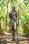 Warrior in traditional dress, Mclaren Harbour, Tufi, Cape Nelson, Oro Province, Papua New Guinea