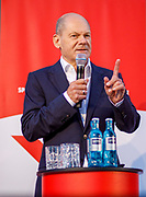 German Minister of Finance and SPD Chancellor candidate Olaf Scholz  delivers a speech during an elections campaign event in Berlin, Germany, September 03, 2021. The German Federal elections are scheduled to take place on September 26, 2021.
