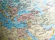 Middle East map on a globe focused on Turkey, Syria, Iraq, Jordan, Saudi Arabia, Israel 1979