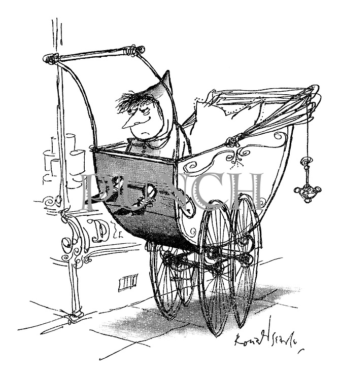 (Child in pram with legs in stocks)