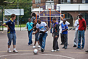A penality shoot out competition at the Pathways Project launch by Souther Housing Group, Stamford Hill Estate London. The pathways project is a voluntary information, support and guidance service aimed at young people aged 16-25 years in Hackney.