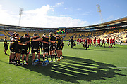 Hurricanes players huddle before the Super Rugby match, Hurricanes v Crusaders, Sky Stadium, Wellington, Sunday, April 11, 2021. Copyright photo: Kerry Marshall / www.photosport.nz